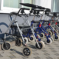 Walking frames and rollators in a line