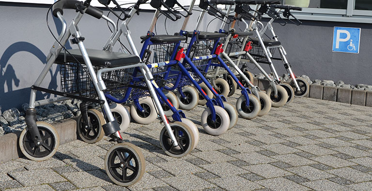 A selection of walking frames and rollators