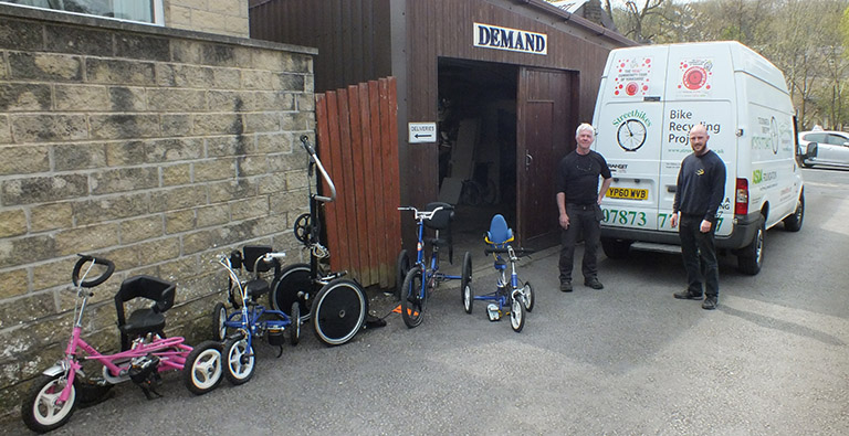 DEMAND Engineer Ben along with Dave of Streetbikes, handing over the newly refurbished accessible bikes