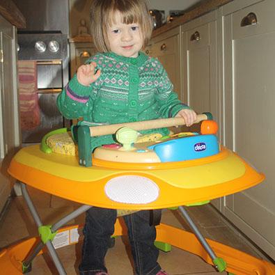 Amber using her walker