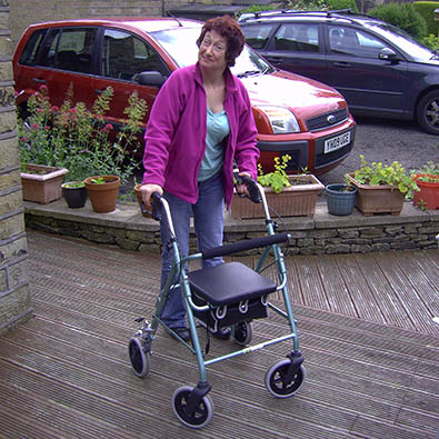 Charlotte tries the new walking frame