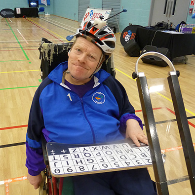 Mark with his boccia ramp