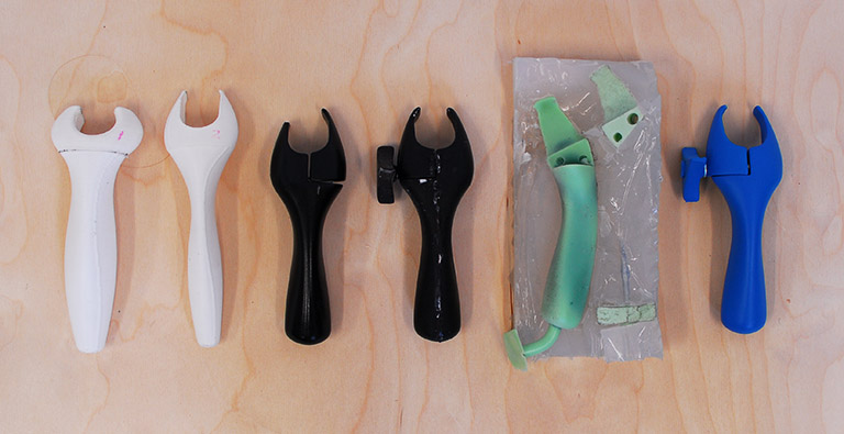 Iterations of the deodorant handle prototype