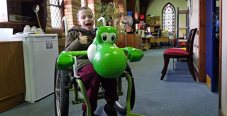 Jack and his Yoshi Transporter wheelchair