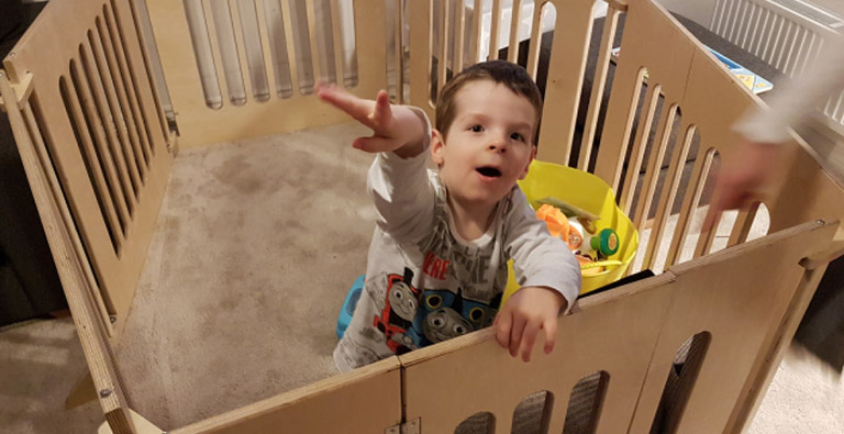 James using his custom playpen
