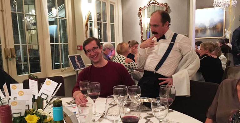 Basil Fawlty entertaining guests at the Fawlty Towers Dinner