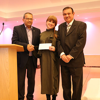 OAUK President presents a cheque to Denise Gillies of DEMAND