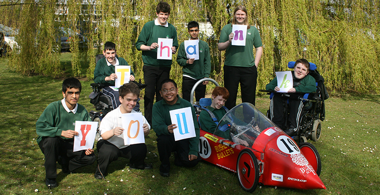 Chilren and the DEMAND Greenpower car